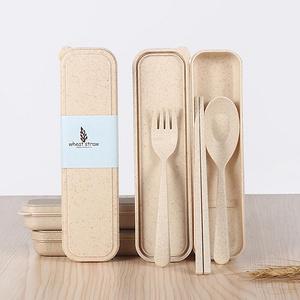 韩式小麦便携餐具三件套装