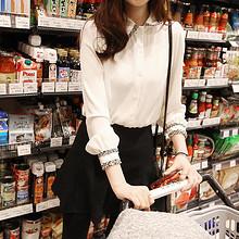 优雅精致# 歌喜莱 百搭修身拼接白衬衫 39.9元包邮(59.9-20券)