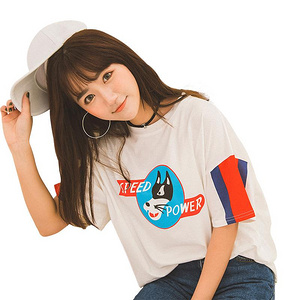 Skgirl 白色卡通印花中袖T恤