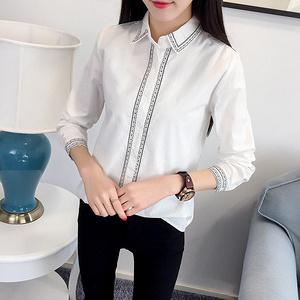 善因 韩版百搭刺绣长袖白衬衫