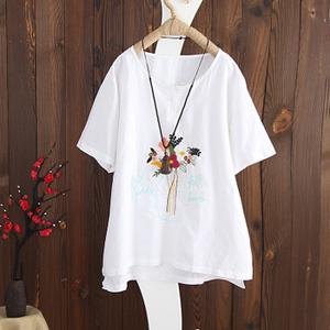 文艺刺绣棉麻圆领套头女T恤