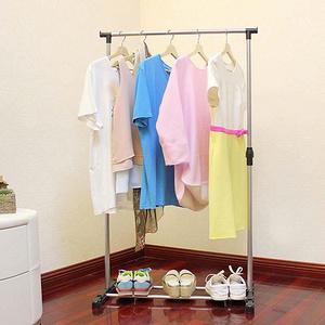 家用落地升降移动简易晒衣单杆