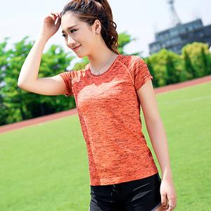 户外健身运动缎染速干女T恤
