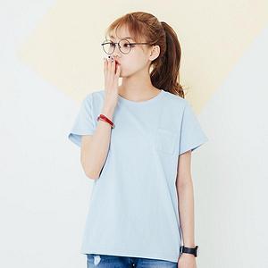 韩版纯棉纯色宽松情侣短袖t恤