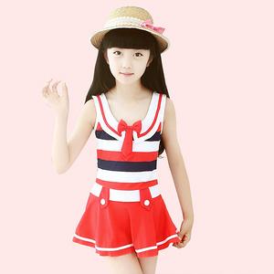 韩版儿童公主裙式连体平角泳衣