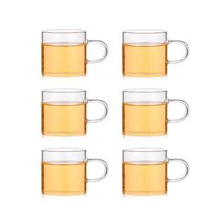 透明加厚耐热玻璃带把茶杯6个