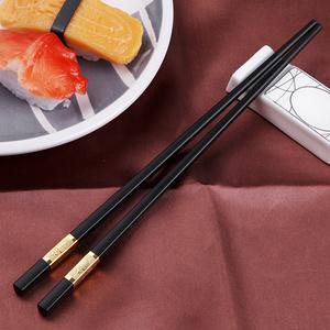创健 家用防滑实木合金筷10双