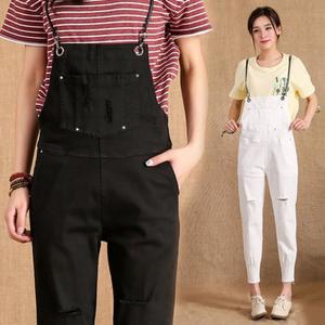 女士秋款显瘦九分牛仔背带裤
