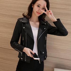 女士韩版修身短款pu皮夹克