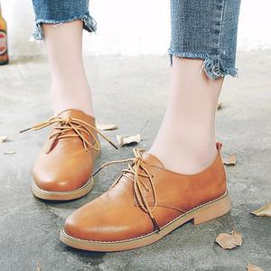 秋季英伦学院风复古粗跟小皮鞋