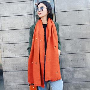 女士加厚纯色保暖仿羊绒围巾