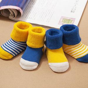 婴儿全棉松口中筒毛圈袜4双
