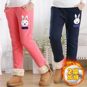 女童秋冬季加厚加绒运动裤