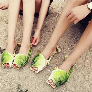 一家三口家用搞怪鱼形凉拖鞋