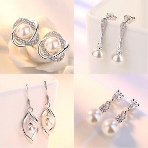 女士s925气质简约银珍珠耳环