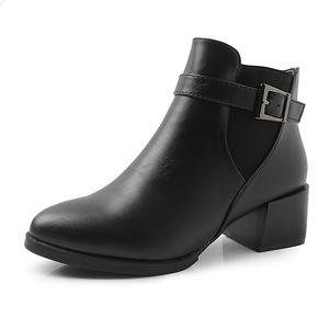 大东 女欧美加绒中跟切尔西靴