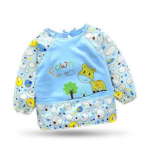 秋冬季婴儿长袖防水反穿吃饭罩衣