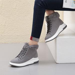 大东 女平底加绒保暖运动短靴