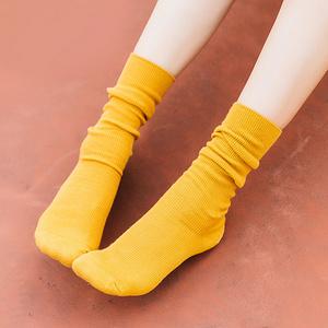 女秋冬可爱粗线复古堆堆袜5双