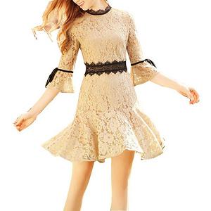 女士夏季七分喇叭袖蕾丝连衣裙