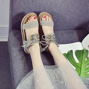 女士韩版百搭简约原宿平底凉鞋