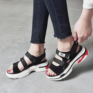 女夏季韩版厚底魔术贴复古凉鞋