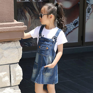 女童夏季韩版时尚牛仔背带连衣裙