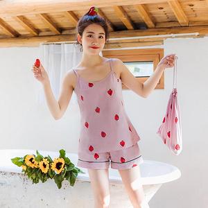 女夏季可爱清新草莓睡衣七件套