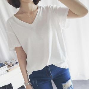 女士夏季纯色小清新韩版短袖T恤