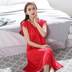 女夏冰丝短袖性感丝绸睡裙
