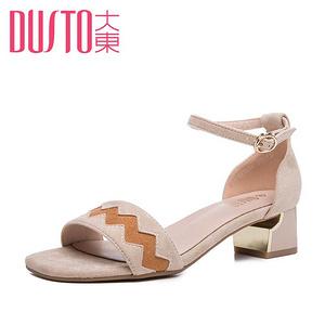 大东 女夏季时尚拼色中跟凉鞋