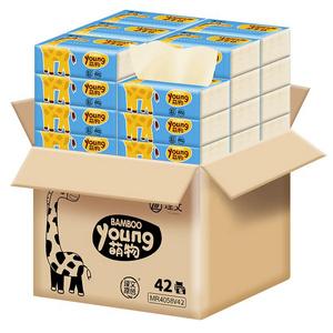 理文本色抽纸家用42包整箱