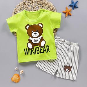 夏季宝宝短袖套装纯棉婴儿衣服