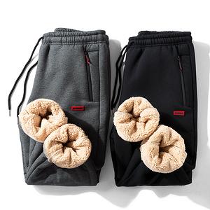 冬季男士保暖加絨褲子休閑褲中老年毛褲