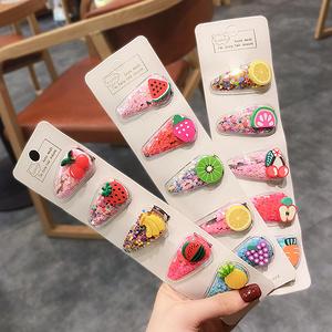 韩国儿童发夹水果流沙发夹5个装