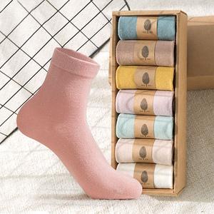 【7双装】冬季韩版纯棉女士中筒袜子