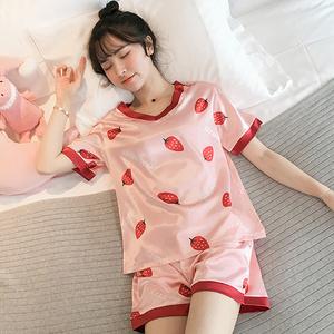 夏季短袖宽松薄款冰凉丝滑睡衣家居服