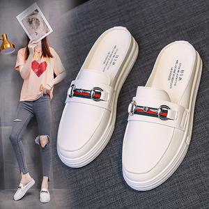 【承薇】韩版松糕半拖鞋系带小白鞋