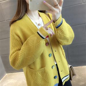 2021秋冬新款毛衣宽松韩版针织衫V领