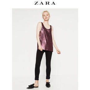 ZARA TRF女装金属色拼接T恤 39元包邮