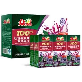 众果 玫瑰香紫葡萄混合果汁 1L×6盒 折22.4元(买2免1)