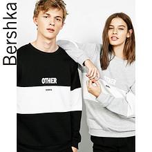 Bershka 情侣款 中性拼接印字卫衣 59元