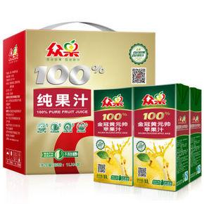 众果 1金冠黄元帅苹果汁 1L×4盒 19.9元
