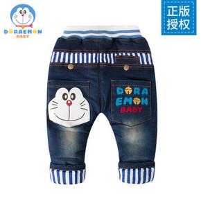 哆啦A梦宝宝 婴儿春秋韩版加绒牛仔裤 39元包邮(59-20券)