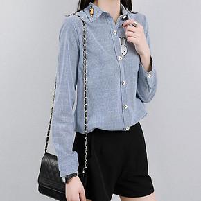 芳袖 新款条纹衬衫刺绣衬衣 38.8元包邮(68.8-30券)