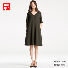 UNIQLO 优衣库 女士V领连衣裙 129元包邮