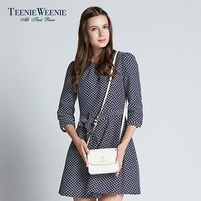 Teenie Weenie 小熊 格子中袖连衣裙 99元包邮