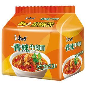 康师傅 经典系列 香辣牛肉泡面 五连包 10.9元