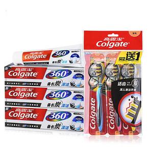 高露洁 360长炭牙膏120g*3+适齿炭牙刷三支 29.9元