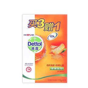 Dettol 健康自然清新柑橘沁爽香皂 4块*2件 折8元(15.9,31.8-15.9)